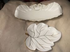 VINTAGE CARLTON WARE GILDED CREAM LEAF DISH & LONG ELEGANT SHAPE BOWL 1981 3367